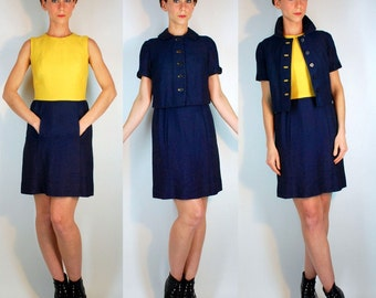 Vintage 60s Color Block Navy / Yellow Dress + Jacket Two Piece Suit Set. Mod Structured Cocktail Sheath / Button Front Coat. Extra Small