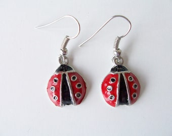 Ladybug metal earrings - ladybug earrings - ladybug jewelry - metal ladybug charms  - ladybug charm earrings - ladybugs