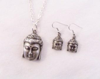 Buddha necklace and earring set - Buddha jewelry - Buddha necklace - symbolic jewelry - Buddha earrings - Buddha metal mask - Buddha gift