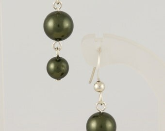 Green or White Sterling Silver and Swarovski Pearl Earrings