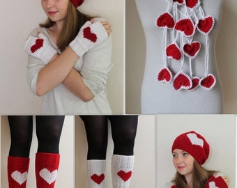 VALENTINES GIFT! Heart gloves, arm warmers, fingerless gloves, women gift, heart hat, women beanie,  Heart lariat scarf, express shipping,