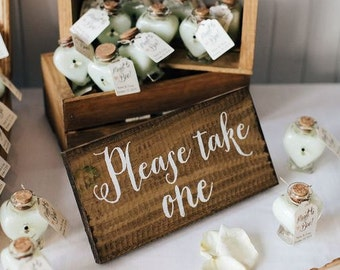 Rustic Wooden Wedding Favors Sign - Please Take One - WS-148