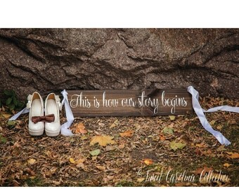 Wood Wedding Aisle Sign | Rustic This Is How Our Story Begins Wooden Wedding Sign | Rustic Wedding Signs | Wedding Decor - WS-149