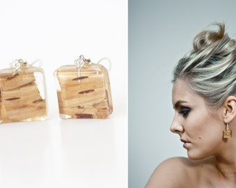 Birch jewelry - Birch earrings - White birch wood - Resin earrings - Woodland earrings - Woodland jewelry - Nature inspired jewlery