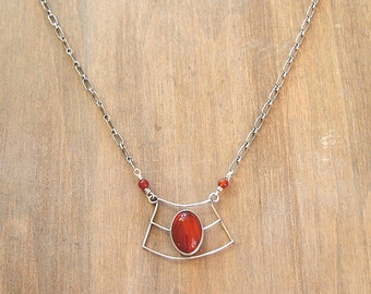 Deep red agate and silver lyre necklace with carnelian accents and patterned chain - Tenacious Necklace