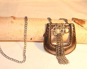 Repurposed belt buckle necklace with metal tassel