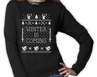 Winter is Coming Christmas Ugly sweater - Women's Crewneck Sweatshirt