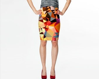 Skirt / Fitted Skirt / Pencil Skirt / Orange Skirt / Art Skirt /Bodycon Skirt / Skirts / Fitted Pencil Skirt / Printed Skirts / Print Skirt