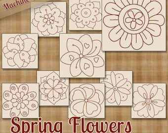 BONUSES Included - Spring Flowers Redwork Machine Embroidery Patterns / Designs 4x4 and 5x7 Hoop INSTANT DOWNLOAD - 3 Sizes Now and 2 Styles