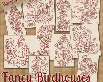 Fancy Birdhouses Redwork Machine Embroidery Patterns 2 Sizes Multi-format Designs on CD Shipped Quick .pes .jef .exp .xxx .vip .hus .dst