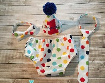 Polka Dot Baby Boy First Birthday Set Cake Smash Outfit