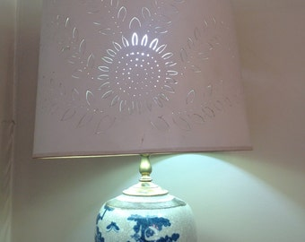 Blue Transferware Lamp with Brass Accents and Hand Cut Design Shade