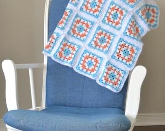 Vintage Crochet Afghan Granny Square Blanket