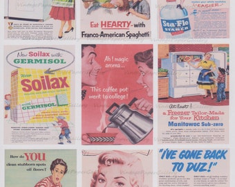 1950s ADS-DOWNLOAD Digital Collage Sheet 9 Printable Images - Scrapbooking - Gift Tags - Magnets - Cards