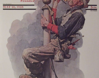 GILDING THE EAGLE By Norman Rockwell Reproduction Print Christmas Present 1928 The Saturday Evening Post Bookplate Ready To Frame