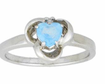 0.50 Ct Blue Topaz & Diamond Heart Ring .925 Sterling Silver Rhodium Finish