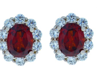 8 Carat Garnet Oval Stud Earrings .925 Sterling Silver Rhodium Finish