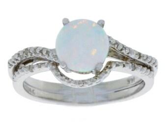 Opal Diamond Ring & Diamond Band .925 Sterling Silver Rhodium Finish