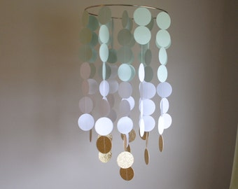 Light Mint Green/White/Gold Chandelier Mobile// Nursery Mobile - Choose Your Colors