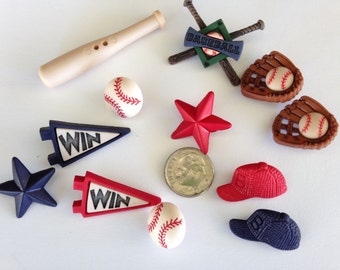 Baseball team buttons and embellishments for scrapbooking, sewing and other crafts