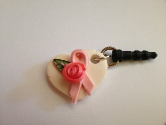 Breast Cancer cell phone or tablet charm, cute white heart with pink rose and breast cancer awareness ribbon