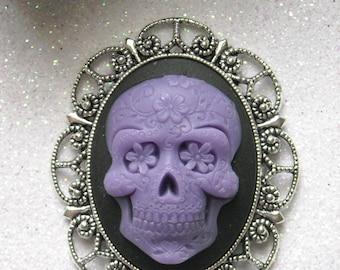 Purple Day of the Dead Skull Antique Silver Brooch