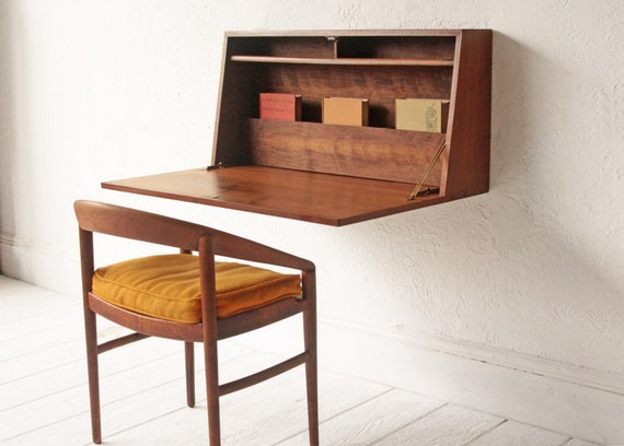 Floating Collapsible Desk Mid Century Cabinet By