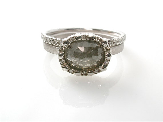RESERVED Grey Rustic Diamond Ring Modern Engagement Ring