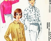 CUTE 60s McCALLS 5959 Pattern Jackets 3 Styles Waist Length Hooded Ski Bunny or Hip Length Car Coat Jacket  Bust 32 Vintage Sewing Pattern
