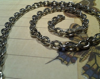 Stainless Steel silver faceted cable chain Marin grade - by the foot or rollmedium size  4.5 mm x 6 mm - Great value- KR125