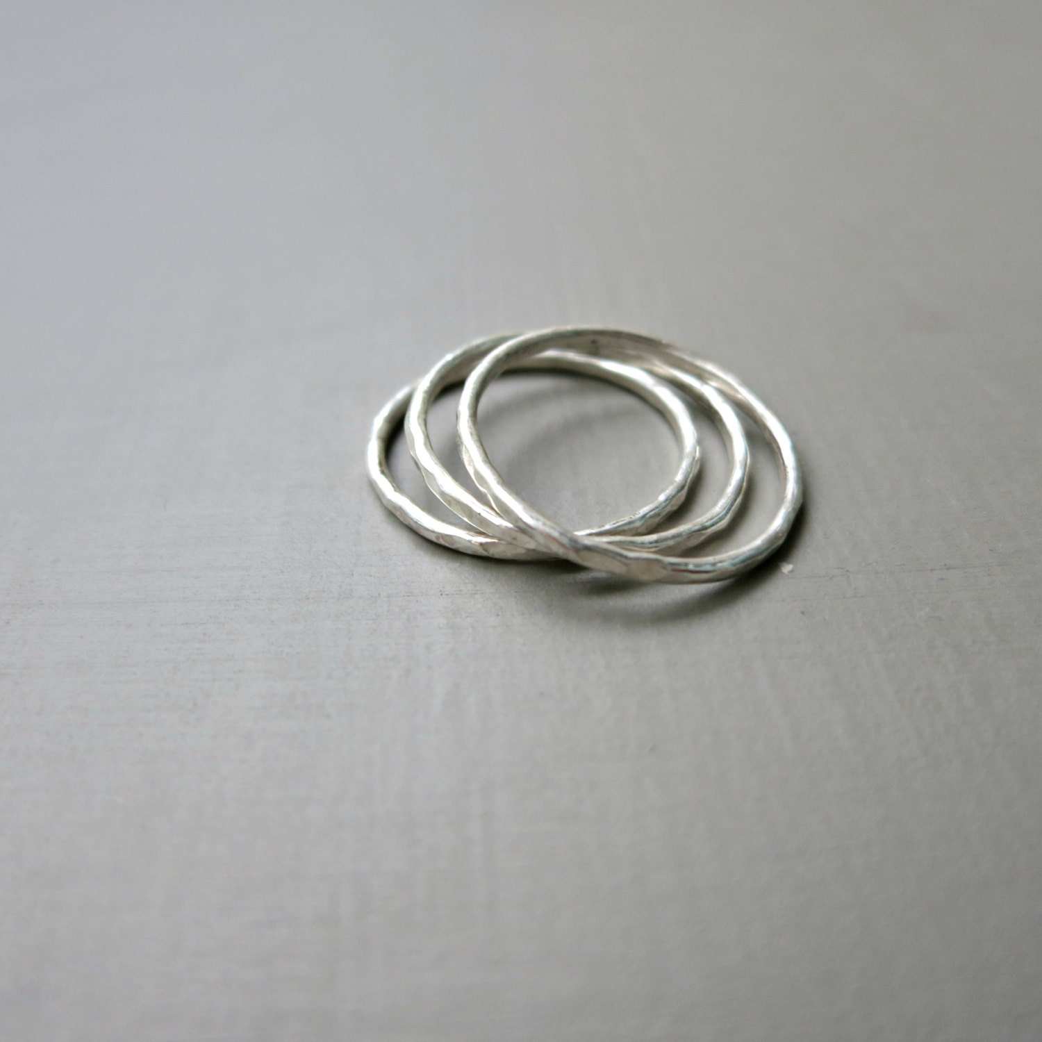 one thin sterling silver stacking ring thin band hammered