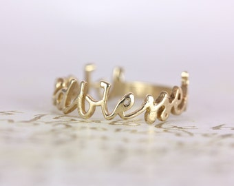 """gorgeous 14 kt. gold """"BLESSED"""" ring"""