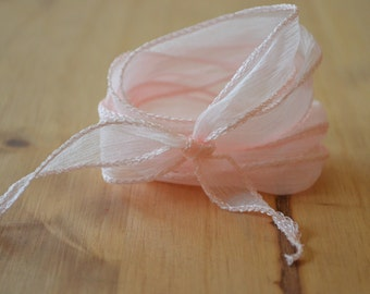 Nude Silk Ribbon  - hand dyed - apricot - for necklace bracelet