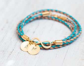 Personalized  Leather initial gold bracelet - gold infinity jewelry stamped wedding bridesmaid gift bridal  friendship charm christmas minim