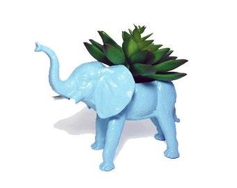 Up-cycled Light Blue Elephant Planter