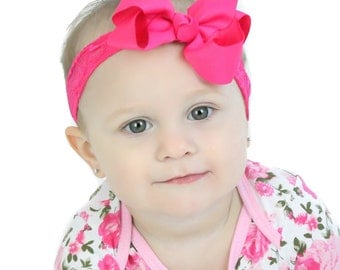 Baby Bow Lace Headband.Hot Pink Bow Hot Pink Headband.Baby Hair Bows.Baby Girl Headband.Baby Lace Headband.Infant Bow Headband.Lace Headband