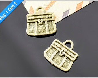 Buy 1 Get 1 FREE - Small Handbag Charm, Antique Bronze Handbag Pendant, 17x16mm, Pkg of 12pcs, C01B.AN09.P12