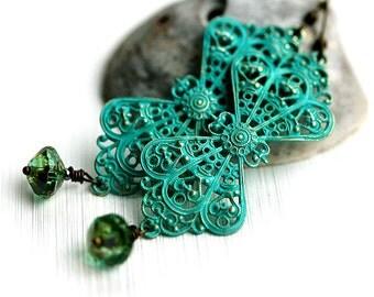Long Filigree Earrings, Turquoise Patina, Verdigris Earrings, Bohemian Jewelry, Boho Earrings, Ethnic, Statement Earrings by MayaHoney