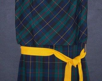 Vintage Carlette Smith Tartan Blue Green Red Yellow Plaid Shift Sheath Jumper Kiltie Dress 10 11