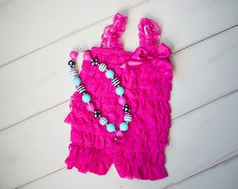 Cake Smash outfit- Baby Ruffle Romper -Hot pink Birthday outfit - Baby girl 1st Birthday outfit -Baby Rompers -Birthday photo outfit