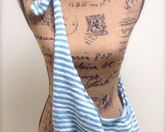 Blue and White Striped Cotton Purse