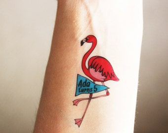 12 Custom Temporary Tattoos - Perfect Party Favors for a Flamingo Party!