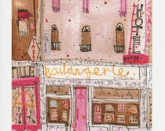 PARIS ART PRINT Boulangerie sale 10% French Bakery Shop, Paris Cafe Art, Signed Print, Mixed Media Painting Paris Wall Decor Clare Caulfield
