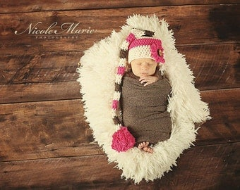 Stocking Cap, Made-to-Order Crochet Long Tail Striped Newborn Stocking Cap, Photo Prop, Choose from 3 Color Combos, Newborn Sizes