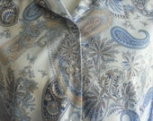 Vintage 1970s Baby Blue Paisley Blair Womens Blouse Size Medium by Blair