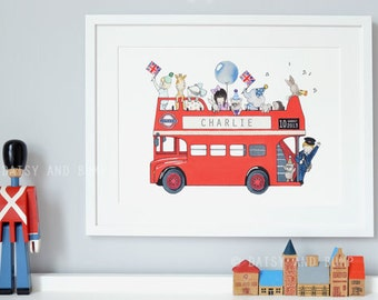 London Bus, London Nursery Art, Children's Print, Iconic British, Routemaster, Red Bus Picture, Kid's British Theme, Add your name and date!