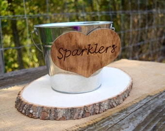 Wedding Sparklers Bucket - Rustic Wedding - Large Sparkler Bucket - Program Bucket - Sparklers Pail - Sparklers Basket - Sparklers Holder