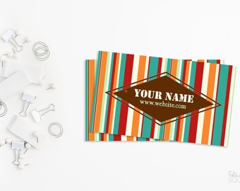 Printable business card design Striped business card Retro business card design Printable Multicolor business card Bright business card