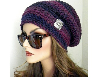 Slouchy Hat, PurpleTweed Stripes, Slouchy Beanie, Hat,  Hand Crocheted hat, Winter Hat,Womens Fashion Accessories