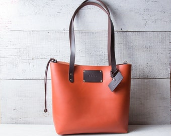 Leather tote bag, Monogrammed personalized shopping bag Shopper bag